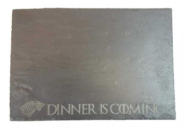 "Game of Thrones House Stark ""Dinner is Coming"" Slate Chopping/Serving Bo"